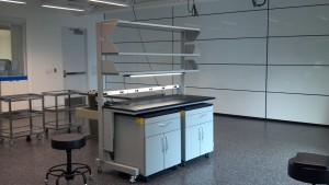 Lab Cart with Mobile Cabinets and Shelves